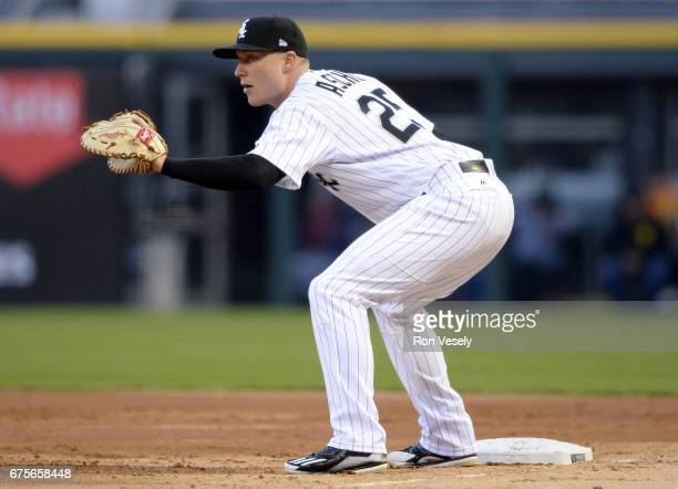 Cody Asche of the Chicago White Sox fields against the Cleveland Indians on April 22 2017 at Guaranteed Rate Field in Chicago Illinois The Indians...