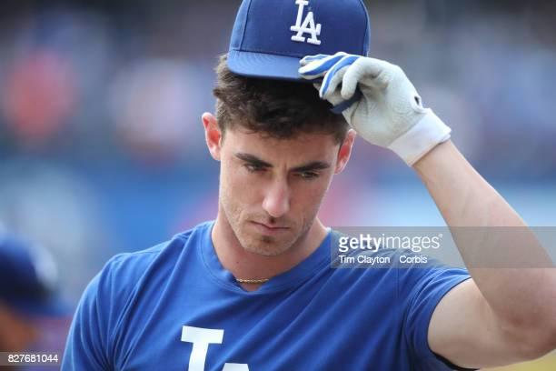 Cody Bellinger of the Los Angeles Dodgers at batting practice before the Los Angeles Dodgers Vs New York Mets regular season MLB game at Citi Field...