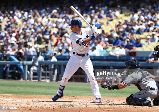 Cody Bellinger of the Los Angeles Dodgers bats during the second inning of the MLB game against the San Diego Padres at Dodger Stadium on August 13...