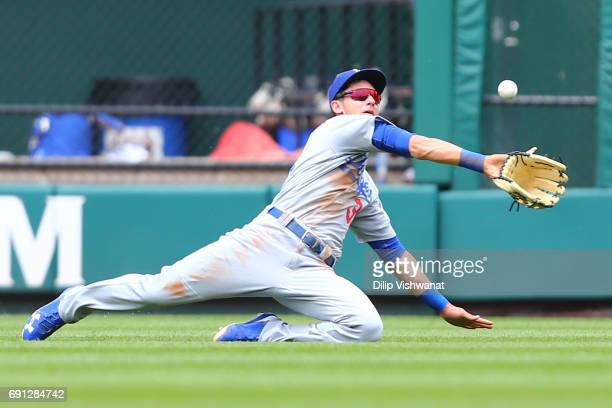Cody Bellinger of the Los Angeles Dodgers catches a line drive against the St Louis Cardinals in the fourth inning at Busch Stadium on June 1 2017 in...