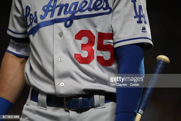 Cody Bellinger of the Los Angeles Dodgers during the Los Angeles Dodgers Vs New York Mets regular season MLB game at Citi Field on August 06 2017 in...