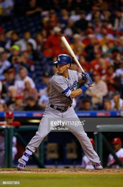 Cody Bellinger of the Los Angeles Dodgers in action during a game against the Philadelphia Phillies at Citizens Bank Park on September 19 2017 in...