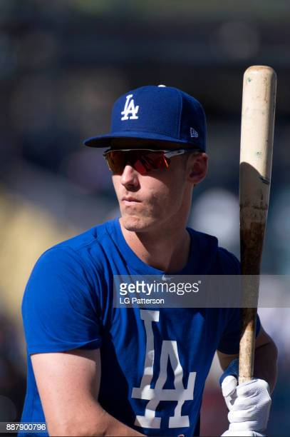 Cody Bellinger of the Los Angeles Dodgers looks on during batting practice prior to Game 1 of the 2017 World Series against the Houston Astros at...