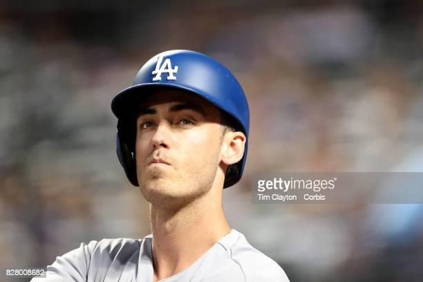 Cody Bellinger of the Los Angeles Dodgers preparing to bat during the Los Angeles Dodgers Vs New York Mets regular season MLB game at Citi Field on...