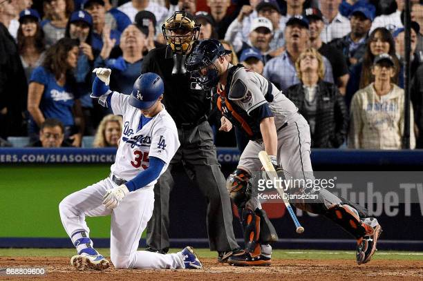 Cody Bellinger of the Los Angeles Dodgers reacts after striking out during the eighth inning against the Houston Astros in game six of the 2017 World...