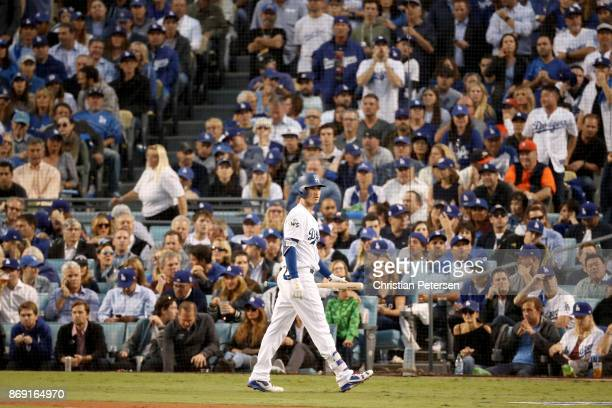 Cody Bellinger of the Los Angeles Dodgers reacts after striking out during the first inning against the Houston Astros in game seven of the 2017...