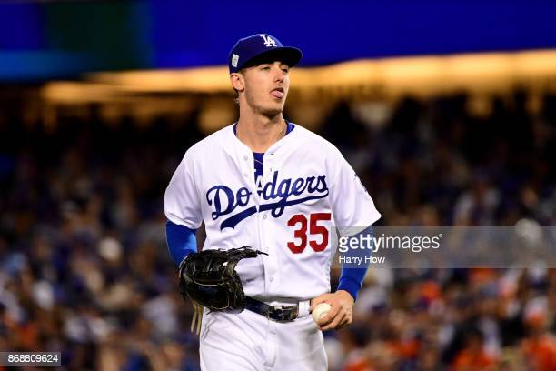 Cody Bellinger of the Los Angeles Dodgers reacts during the eighth inning against the Houston Astros in game six of the 2017 World Series at Dodger...