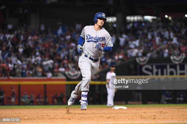 Cody Bellinger of the Los Angeles Dodgers rounds third base after hitting a one run home run during the fifth inning of the National League...
