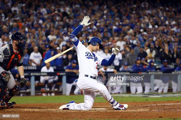 Cody Bellinger of the Los Angeles Dodgers strikes out for the fourth time of Game 6 of the 2017 World Series against the Houston Astros at Dodger...