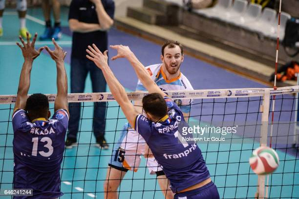 Cody Caldwell of Nantes during the volleyball Ligue A match between Paris Volley and Nantes Reze at Salle Pierre Charpy on February 23 2017 in Paris...