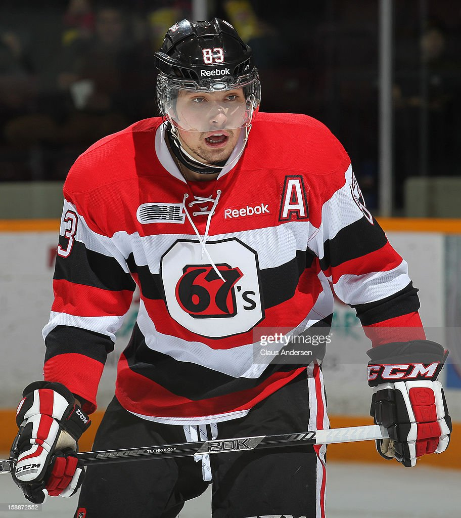 <a gi-track='captionPersonalityLinkClicked' href=/galleries/search?phrase=Cody+Ceci&family=editorial&specificpeople=7324783 ng-click='$event.stopPropagation()'>Cody Ceci</a> #83 of the Ottawa 67's skates in an OHL game against the Peterborough Petes on December 29, 2012 at the Peterborough Memorial Centre in Peterborough, Canada. The 67's defeated the Petes 6-3.