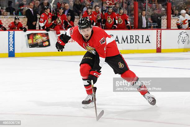 Cody Ceci of the Ottawa Senators during an NHL game against the Calgary Flames at Canadian Tire Centre on October 28 2015 in Ottawa Ontario Canada