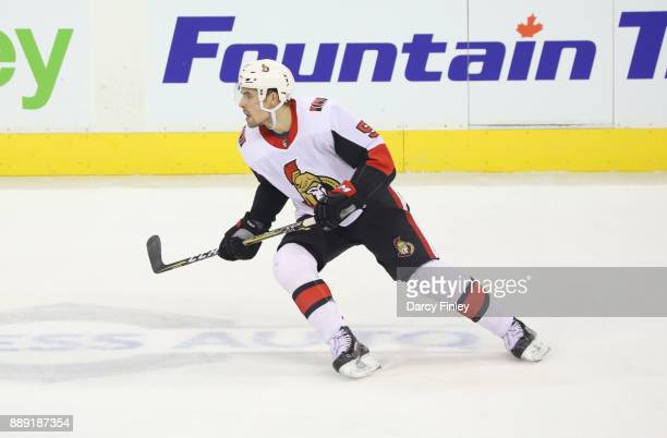 Cody Ceci of the Ottawa Senators keeps an eye on the play during second period action against the Winnipeg Jets at the Bell MTS Place on December 3...