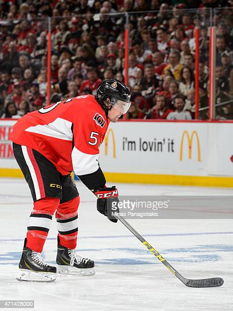 Cody Ceci of the Ottawa Senators looks on prior to a faceoff in Game Six of the Eastern Conference Quarterfinals against the Montreal Canadiens...