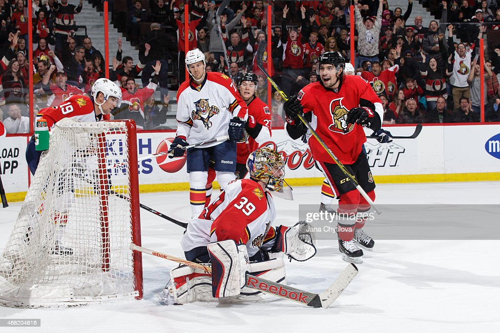 <a gi-track='captionPersonalityLinkClicked' href=/galleries/search?phrase=Cody+Ceci&family=editorial&specificpeople=7324783 ng-click='$event.stopPropagation()'>Cody Ceci</a> #5 of the Ottawa Senators reacts after the puck got past <a gi-track='captionPersonalityLinkClicked' href=/galleries/search?phrase=Dan+Ellis&family=editorial&specificpeople=2235265 ng-click='$event.stopPropagation()'>Dan Ellis</a> #39 of the Florida Panthers at Canadian Tire Centre on March 29, 2015 in Ottawa, Ontario, Canada.