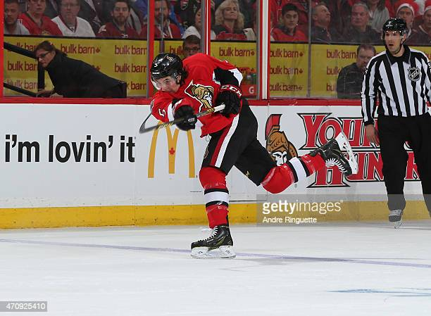 Cody Ceci of the Ottawa Senators shoots the puck against the Montreal Canadiens in Game Four of the Eastern Conference Quarterfinals during the 2015...