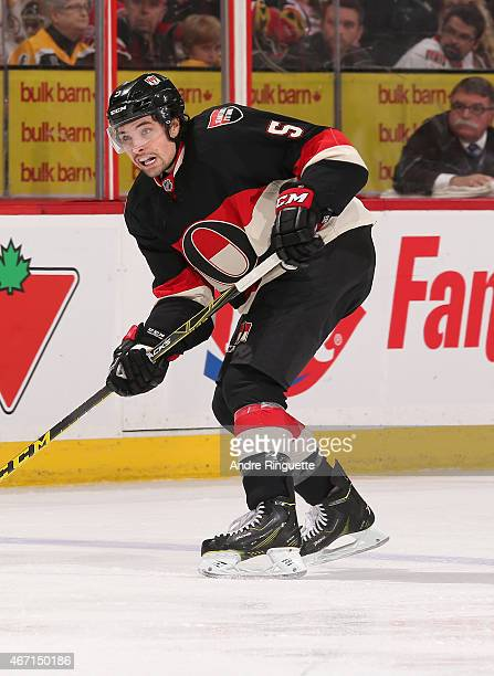 Cody Ceci of the Ottawa Senators skates against the Boston Bruins at Canadian Tire Centre on March 19 2015 in Ottawa Ontario Canada