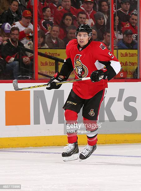 Cody Ceci of the Ottawa Senators skates against the Calgary Flames at Canadian Tire Centre on March 8 2015 in Ottawa Ontario Canada