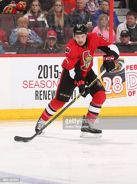 Cody Ceci of the Ottawa Senators skates against the Columbus Blue Jackets at Canadian Tire Centre on February 7 2015 in Ottawa Ontario Canada