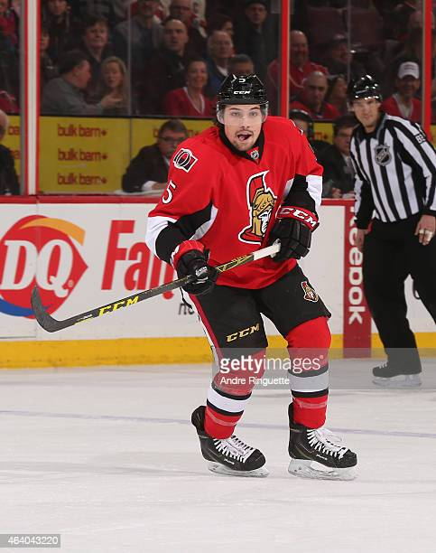 Cody Ceci of the Ottawa Senators skates against the Montreal Canadiens at Canadian Tire Centre on February 18 2015 in Ottawa Ontario Canada