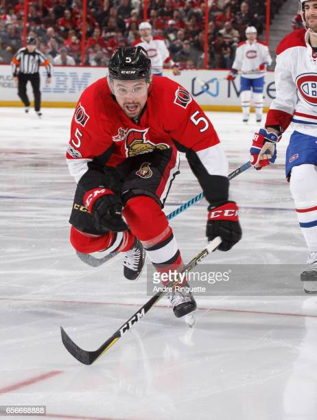 Cody Ceci of the Ottawa Senators skates against the Montreal Canadiens at Canadian Tire Centre on March 18 2017 in Ottawa Ontario Canada