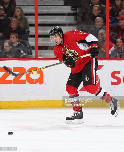 Cody Ceci of the Ottawa Senators skates against the New York Islanders at Canadian Tire Centre on December 5 2015 in Ottawa Ontario Canada