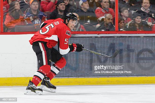 Cody Ceci of the Ottawa Senators skates against the New York Islanders during an NHL game at Canadian Tire Centre on December 4 2014 in Ottawa...