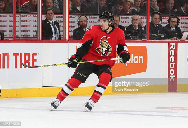 Cody Ceci of the Ottawa Senators skates against the New York Rangers at Canadian Tire Centre on November 14 2015 in Ottawa Ontario Canada