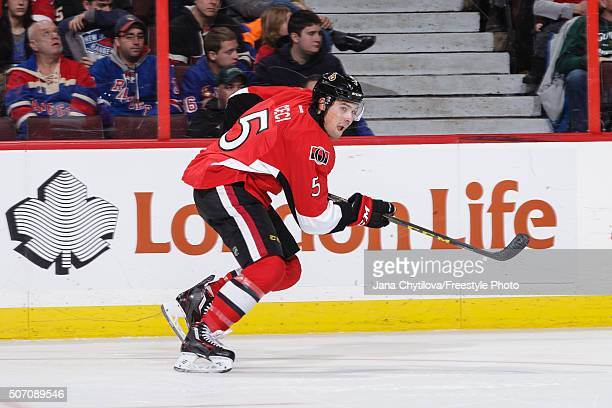 Cody Ceci of the Ottawa Senators skates against the New York Rangers during an NHL game at Canadian Tire Centre on January 24 2016 in Ottawa Ontario...