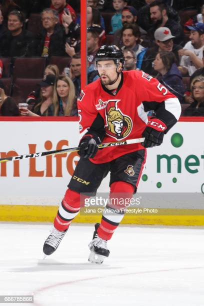 Cody Ceci of the Ottawa Senators skates against the New York Rangers at Canadian Tire Centre on April 8 2017 in Ottawa Ontario Canada
