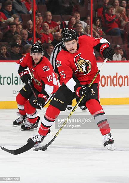 Cody Ceci of the Ottawa Senators skates against the Philadelphia Flyers at Canadian Tire Centre on December 1 2015 in Ottawa Ontario Canada