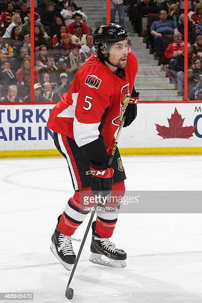 Cody Ceci of the Ottawa Senators skates against the Pittsburgh Penguins at Canadian Tire Centre on April 7 2015 in Ottawa Ontario Canada