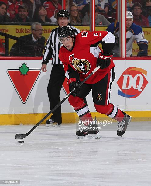 Cody Ceci of the Ottawa Senators skates against the St Louis Blues at Canadian Tire Centre on December 16 2013 in Ottawa Ontario Canada
