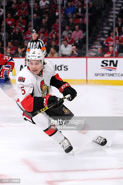 Cody Ceci of the Ottawa Senators skates during Game One of the Eastern Conference Quarterfinals during of the 2015 NHL Stanley Cup Playoffs at the...
