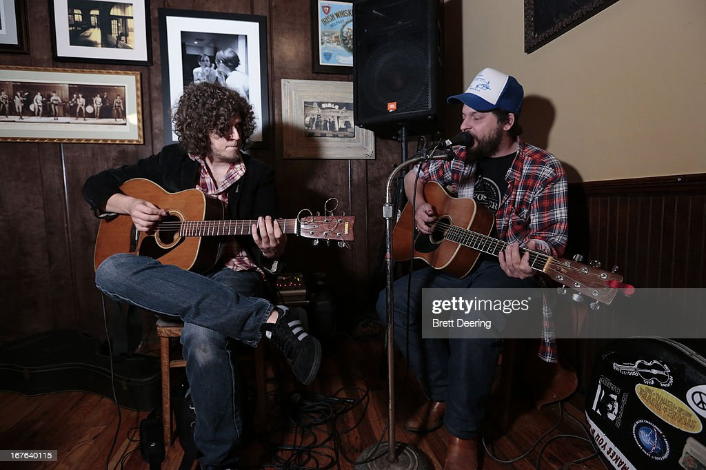 Cody Clinton and Wink Burcham perform at an event for the Woody Guthrie Center on April 26, 2013 in Tulsa, Oklahoma.