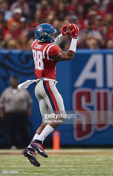 Cody Core of the Mississippi Rebels makes a catch against the Oklahoma State Cowboys during the second quarter of the Allstate Sugar Bowl at...