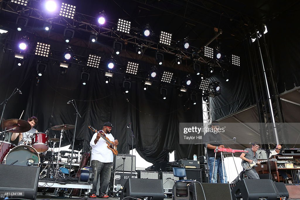 Cody Dickinson Chris Chew Robert Randolph Luther Dickinson and John Medeski of The Word perform during the 2015 Forecastle Festival at Waterfront...