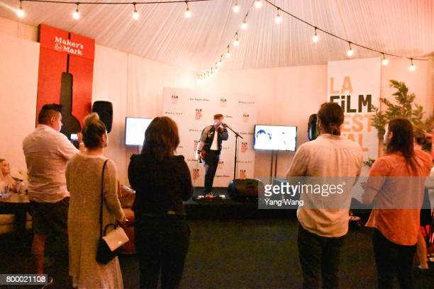 Cody Digerolamo performs onstage at Acoustic Night during the 2017 Los Angeles Film Festival at the Festival Lounge on June 21 2017 in Culver City...
