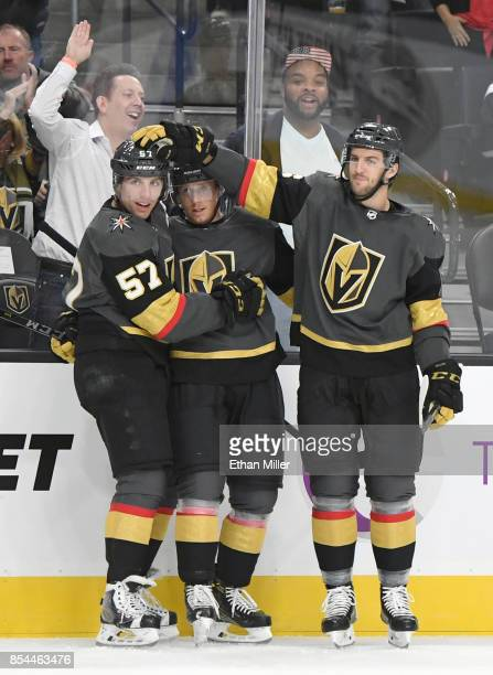 Cody Eakin of the Vegas Golden Knights is congratulated by teammates David Perron and Colin Miller after Eakin scored a firstperiod goal against the...