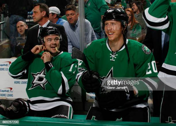 Cody Eakin and Devin Shore of the Dallas Stars before a game against the Arizona Coyotes at the American Airlines Center on April 4 2017 in Dallas...