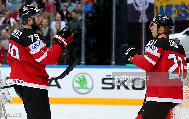 Cody Eakin of Canada celebrate with team mate Ryan O'Reilly after he scores his team's 4th goal during the IIHF World Championship group A match...
