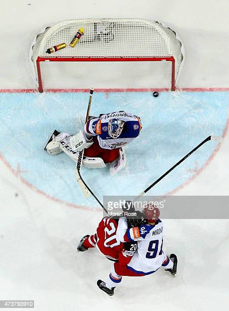 Cody Eakin of Canada is scoring the opening goal during the IIHF World Championship gold medal match between Canada and Russia at O2 Arena on May 17...