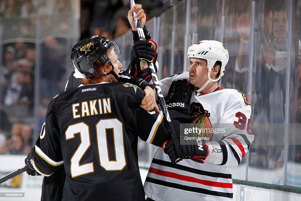<a gi-track='captionPersonalityLinkClicked' href=/galleries/search?phrase=Cody+Eakin&family=editorial&specificpeople=5662792 ng-click='$event.stopPropagation()'>Cody Eakin</a> #20 of the Dallas Stars exchanges words with Dave Bolland #36 of the Chicago Blackhawks at the American Airlines Center on January 24, 2013 in Dallas, Texas.