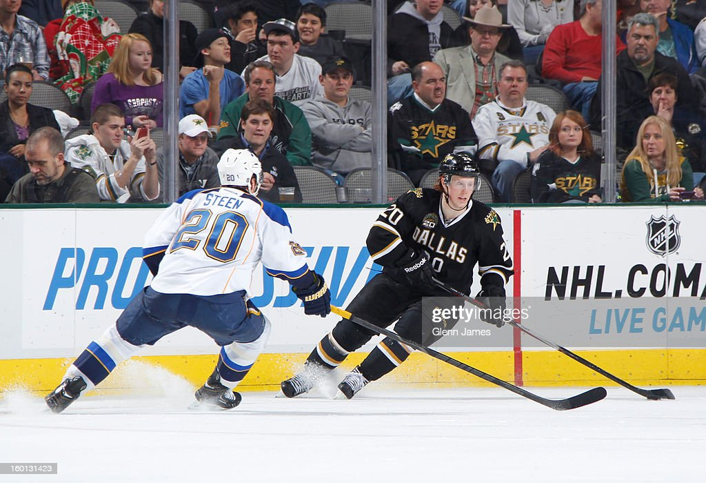 <a gi-track='captionPersonalityLinkClicked' href=/galleries/search?phrase=Cody+Eakin&family=editorial&specificpeople=5662792 ng-click='$event.stopPropagation()'>Cody Eakin</a> #20 of the Dallas Stars handles the puck against <a gi-track='captionPersonalityLinkClicked' href=/galleries/search?phrase=Alexander+Steen&family=editorial&specificpeople=600136 ng-click='$event.stopPropagation()'>Alexander Steen</a> #20 of the St. Louis Blues at the American Airlines Center on January 26, 2013 in Dallas, Texas.
