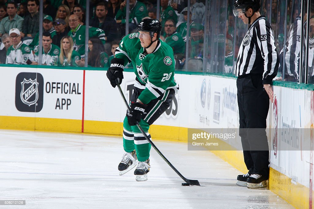 <a gi-track='captionPersonalityLinkClicked' href=/galleries/search?phrase=Cody+Eakin&family=editorial&specificpeople=5662792 ng-click='$event.stopPropagation()'>Cody Eakin</a> #20 of the Dallas Stars handles the puck against the St. Louis Blues in Game One of the Western Conference Second Round during the 2016 NHL Stanley Cup Playoffs at the American Airlines Center on April 29, 2016 in Dallas, Texas.