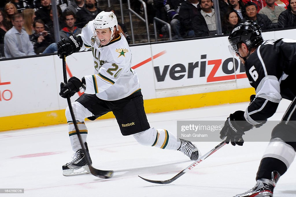 <a gi-track='captionPersonalityLinkClicked' href=/galleries/search?phrase=Cody+Eakin&family=editorial&specificpeople=5662792 ng-click='$event.stopPropagation()'>Cody Eakin</a> #20 of the Dallas Stars shoots the puck against the Los Angeles Kings at Staples Center on March 21, 2013 in Los Angeles, California.