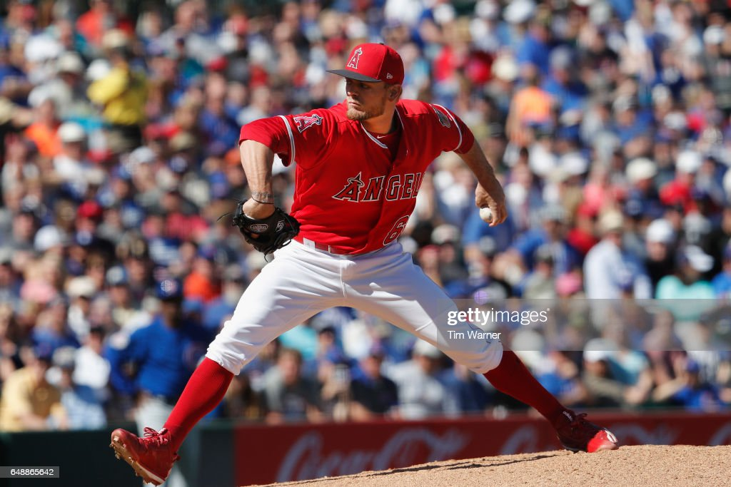 Cody Ege #65 pitches in the third inning against the Chicago Cubs during the spring training game at Tempe Diablo Stadium on March 6, 2017 in Tempe, Arizona.