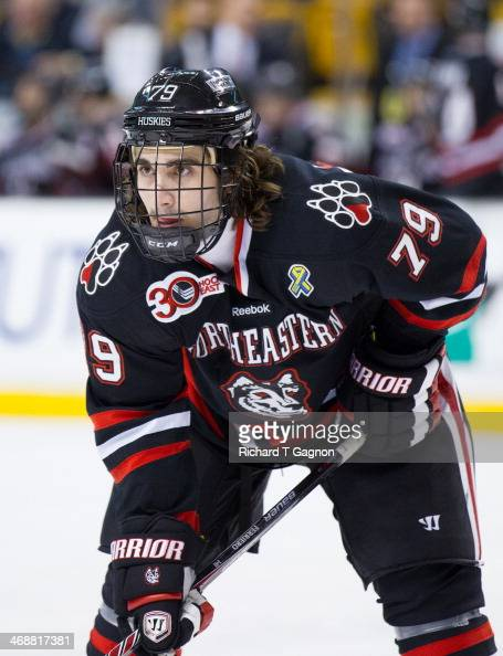Cody Ferriero of the Northeastern University Huskies waits for a faceoff during NCAA hockey action against the Northeastern University Huskies in the...