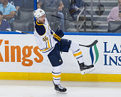 Cody Franson of the Buffalo Sabres celebrates his first goal of the season against the Tampa Bay Lightning during second period at the Amalie Arena...
