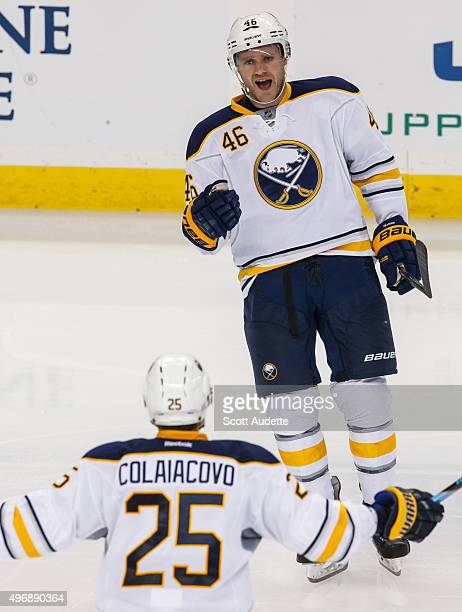 Cody Franson of the Buffalo Sabres celebrates his goal against the Tampa Bay Lightning during second period at the Amalie Arena on November 10 2015...